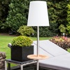 Auto Function Gacoli Outside Garden Solar Lamp with Integrated Teak Table