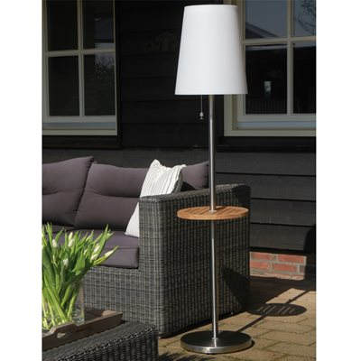ROOTS LED SOLAR GARDEN FLOOR LAMP with Auto Function & Teak Table