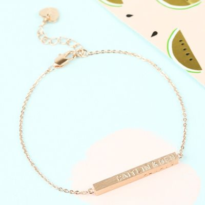 PERSONALISED HORIZONTAL BAR BRACELET in Rose Gold