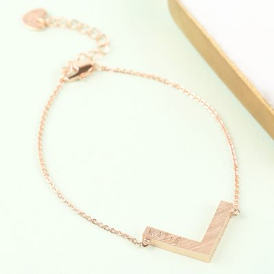 PERSONALISED CHEVRON BRACELET in Rose Gold