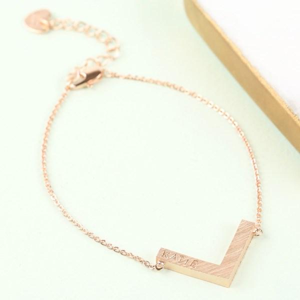 Personalised Chevron Bracelet in Rose Gold