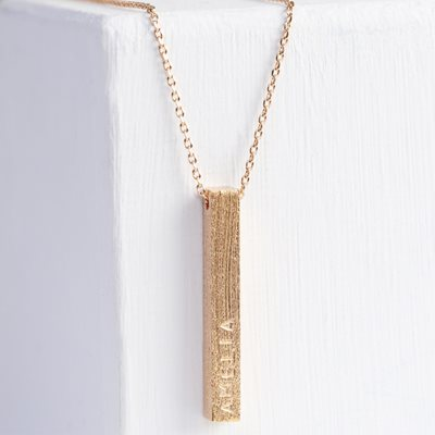 PERSONALISED DIAMOND SHIMMER BAR NECKLACE in Rose Gold