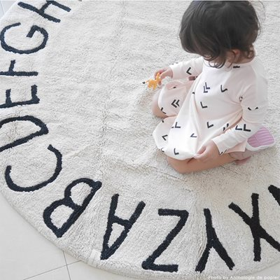 LORENA CANALS ABC KIDS WASHABLE ROUND RUG in Natural Black
