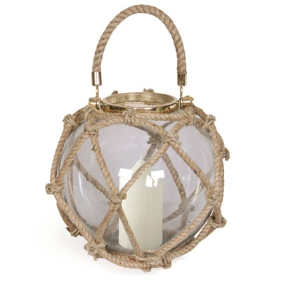 LA ROCHELLE Nautical Globe Lantern in Stainless Steel With Nickel Plate Finish