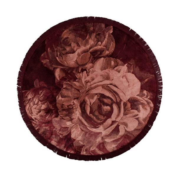 Bold Monkey Round Stitchy Roses Rug