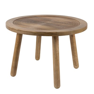 ZUIVER CARVED WOODEN SIDE TABLE in Solid Mango Wood