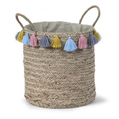 ROUND WOVEN STORAGE BASKET with Tassels