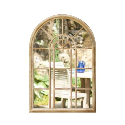 ROUNDED ARCH GARDEN MIRROR in Stone Effect