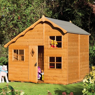 ROWLINSON KIDS PLAYAWAY SWISS COTTAGE WOODEN PLAYHOUSE
