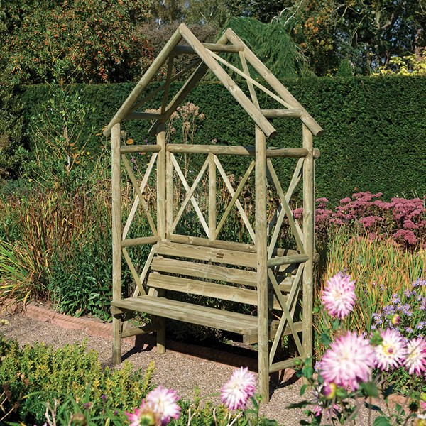 Rowlinson Rustic Garden Seat Arbour in Natural Timber