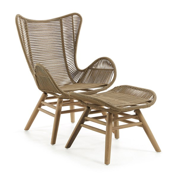 Kubic Eucalyptus Armchair and Footstool in Beige