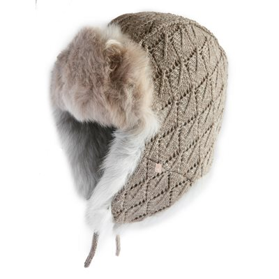 ALPACA FUR TRAPPER HAT in Oyster