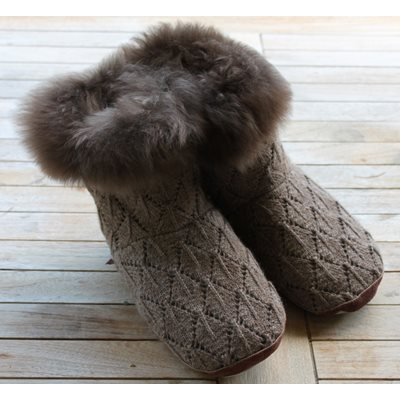 SAMANTHA HOLMES Alpaca Fur Slippers in Taupe