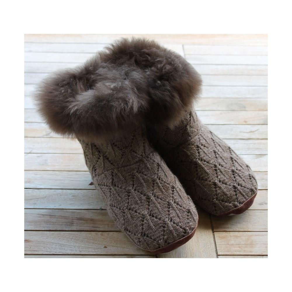 12edbdb74cc4 Samantha Holmes Alpaca Fur Slippers In Taupe - Samantha Holmes ...