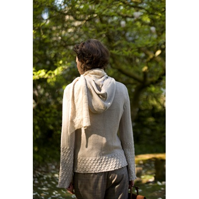 SAMANTHA HOLMES Butterfly Knit Scarf in Ivory