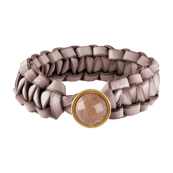 SENCE COPENHAGEN Brown Leather Bracelet with Red Aventurine T-bar clasp