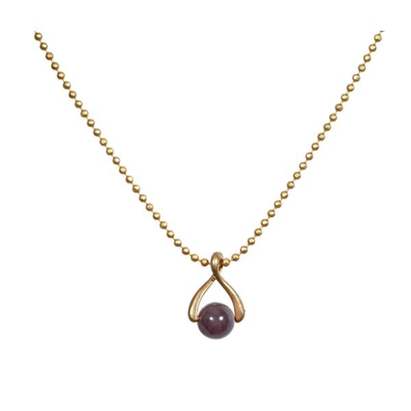 SENCE COPENHAGEN Purple Aventurine and Gold Plated 'Twist' Necklace