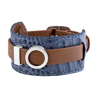 BRACELET CUFF in Blue Leather by Sence Copenhagen