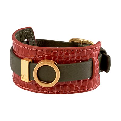 BRACELET CUFF in Green and Red Leather by Sence Copenhagen