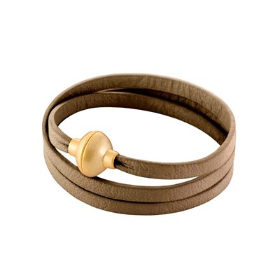 LEATHER WRAP BRACELET in Taupe by Sence Copenhagen
