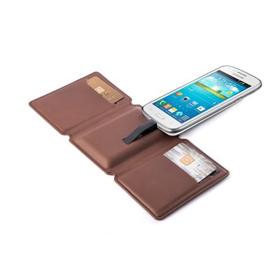 SEYVR Phone Charging Men's Wallet for MicroUSB Android in Brown
