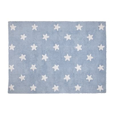 STARS BACKGROUND Washable Rug in Blue and White