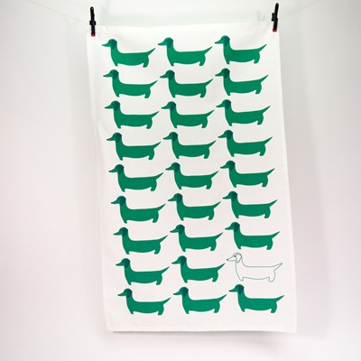 TEA TOWEL in Green Dachshund Design