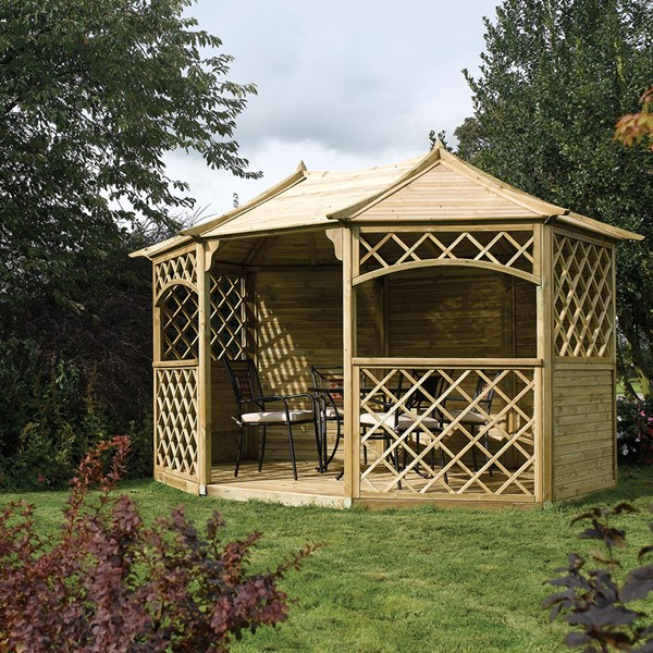 Sandringham Wooden Gazebo in Natural Timber by Rowlinson
