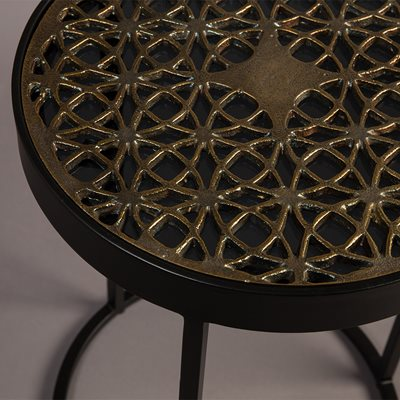 DUTCHBONE SARI GLASS TOP TABLE with Decorative Brass Insert