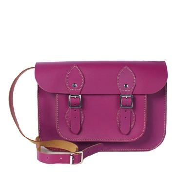 LEATHER SATCHEL BAG in Ultra Violet
