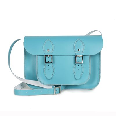 LEATHER SATCHEL BAG in Aquamarine