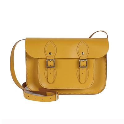 LEATHER SATCHEL BAG in Mustard