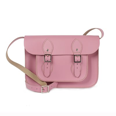 LEATHER SATCHEL BAG in Vintage Pink