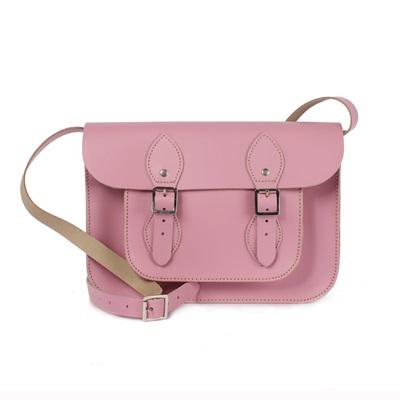 LEATHER SATCHEL BAG in Vintage Pink