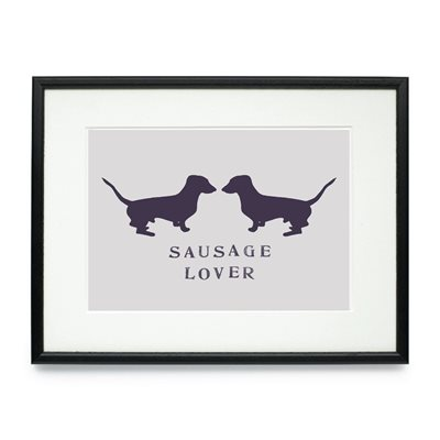 SAUSAGE LOVER FRAMED DOG PRINT by Raw Xclusive