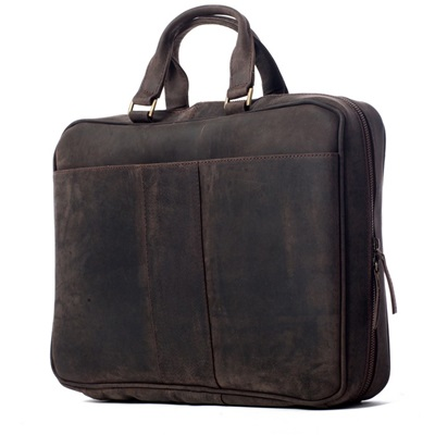 SAVOY LEATHER BRIEFCASE In Dark Brown by Adventure Avenue