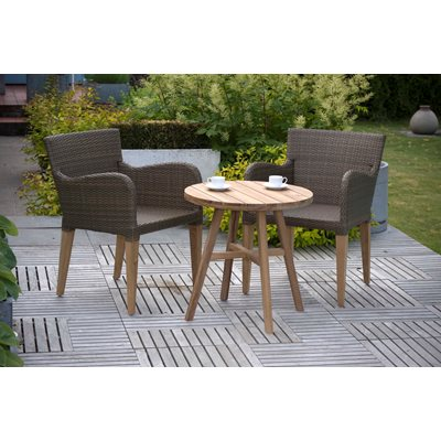 LUXURY WEAVE & TEAK GARDEN BISTRO SET