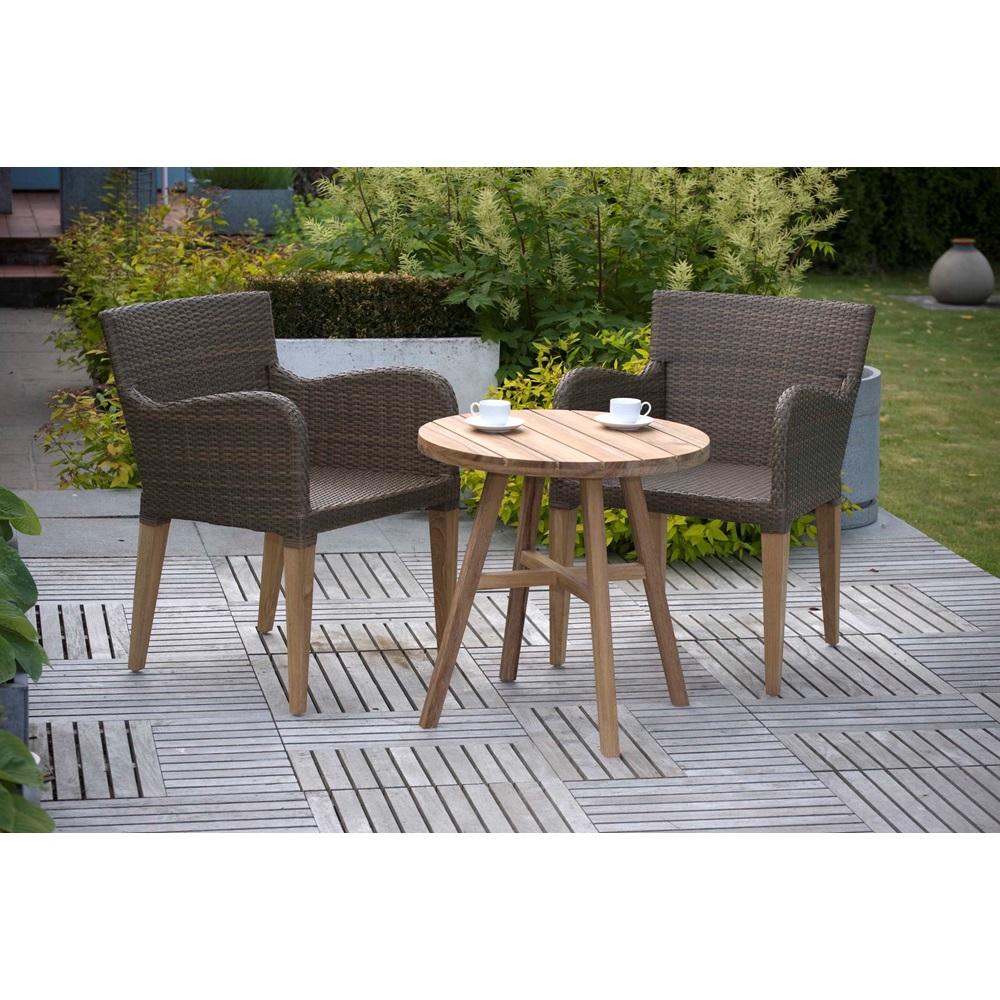 luxury weave teak garden bistro set pr home cuckooland. Black Bedroom Furniture Sets. Home Design Ideas