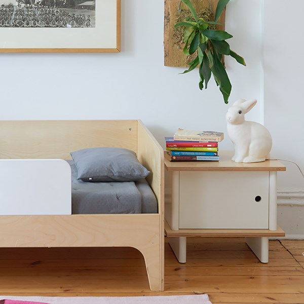 Oeuf Bedside Table in White and Birch