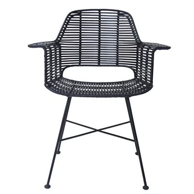 SCANDI STYLE RATTAN TUB DINING CHAIR in Black