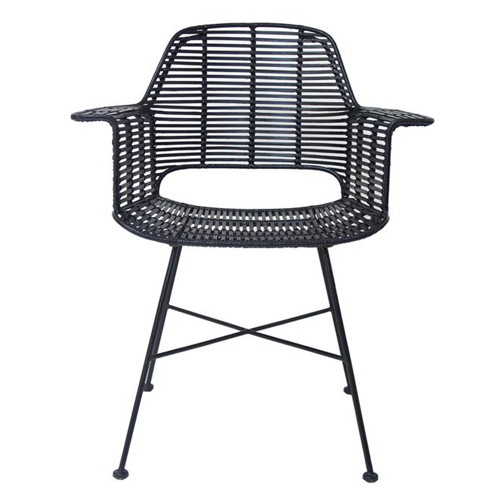 Scandi Style Rattan Tub Dining Chair In Black Dining