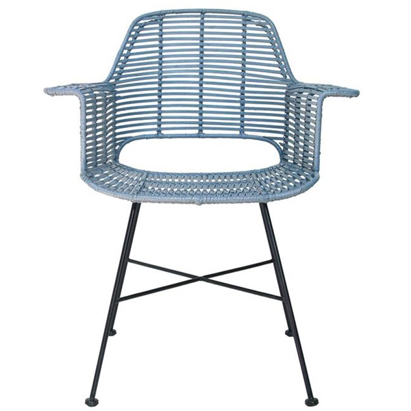 Rattan Tub Dining Chair in Industrial Blue