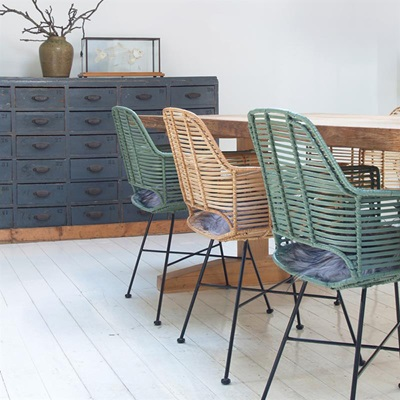 scandi style rattan tub dining chair in black - dining chairs | cuckoo