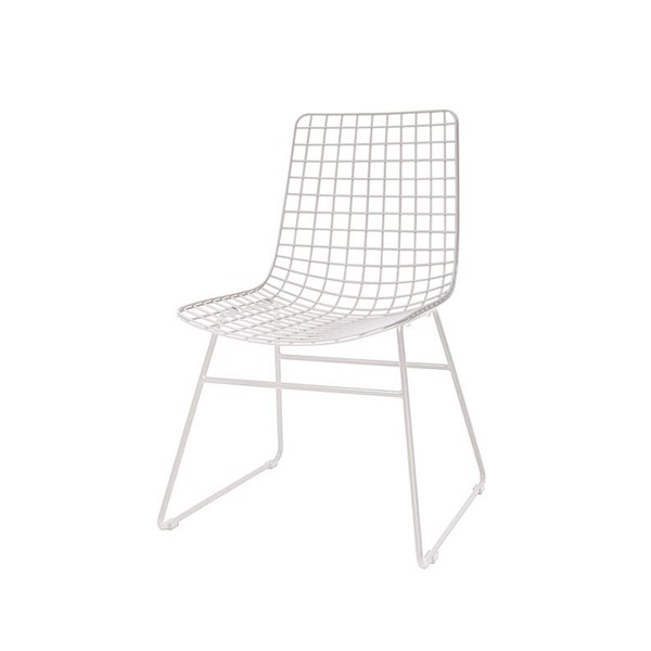 Scandi Style Wire Dining Chair in White