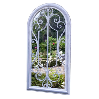 SCROLL ARCH GARDEN MIRROR in Grey Wash Steel