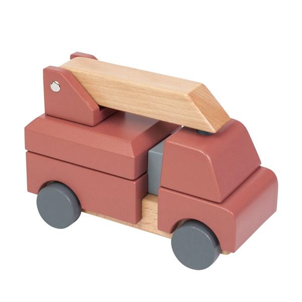 Sebra Kids Wooden Fire Truck Stacking Toy