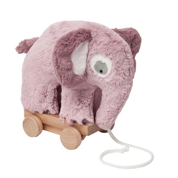 Sebra Pull Along Elephant Soft Toy in Vintage Rose
