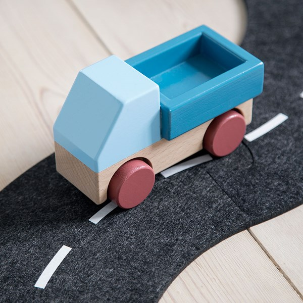 Sebra Kids Wooden Toy Truck in Stone Blue