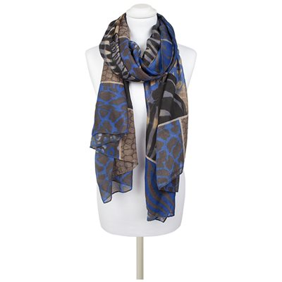 SERGIO Animal Print Scarf in Blue