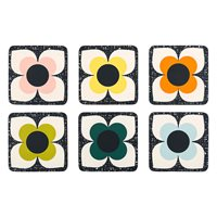 Orla Kiely Set of 6 Scribble Square Flower Coasters